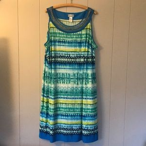 CATHERINES Tribal Watercolor Midi Dress sz 4X